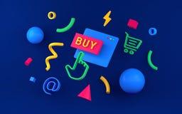 Έννοιες καταστημάτων on-line αγορών ή Διαδικτύου, με το κάρρο αγορών sy διανυσματική απεικόνιση