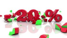 Έννοιες πώλησης και επιγραφής 20 τοις εκατό σε ένα λευκό ελεύθερη απεικόνιση δικαιώματος
