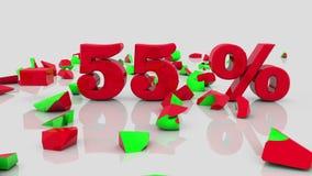 Έννοιες πώλησης και επιγραφής 55 τοις εκατό σε ένα λευκό ελεύθερη απεικόνιση δικαιώματος