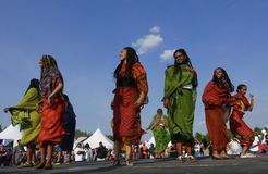 Έντμοντον, Καναδάς 6 Αυγούστου 2018: Οι χορευτές αποδίδουν στο περίπτερο της Eritrea και της Αιθιοπίας στο φεστιβάλ κληρονομιάς τ στοκ εικόνα