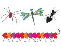 έντομα καρδιών που διαμορ Στοκ Φωτογραφίες