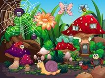Έντομα που ζουν μαζί στον κήπο διανυσματική απεικόνιση