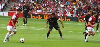 έντονο ποδόσφαιρο στιγμή&sigma στοκ εικόνες