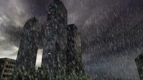 Δέντρα και κτήρια μέσα στο στρογγυλό έδαφος με τη δυνατή βροχή στη νεφελώδη ημέρα φιλμ μικρού μήκους