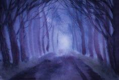 Δέντρα και δρόμος λυκόφατος Στοκ Φωτογραφία