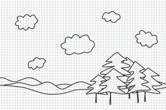 δέντρα τοπίων χεριών σχεδίων Στοκ Φωτογραφία