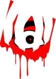Έντρομο μάτι με το χέρι και το αίμα στραγγίγματος Απεικόνιση αποθεμάτων