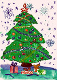Δέντρο έλατου Χριστουγέννων με το χιόνι, ζωγραφική watercolor σε χαρτί Στοκ Εικόνες