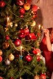 δέντρο επιδέσμου Χριστο&ups φως κεριών Στοκ Εικόνες