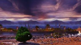 Δέντρο και περιστέρια πριν από τα οργιμένος κύματα και το νεφελώδη ουρανό ηλιοβασιλέματος απόθεμα βίντεο