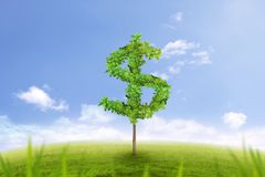 Δέντρο με μορφή του σημαδιού δολαρίων, οικονομική επιτυχία Στοκ Φωτογραφίες