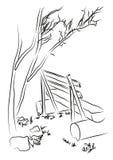 δέντρο πάγκων κάτω Διανυσματική απεικόνιση