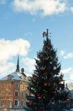 δέντρο χιονιού διακοσμήσεων Χριστουγέννων καλάμων καραμελών Στοκ Εικόνες