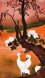 δέντρο δύο πουλιών λευκό διανυσματική απεικόνιση