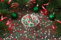Έντυπο για το cupcake με τη διακόσμηση αστεριών Στοκ Εικόνες