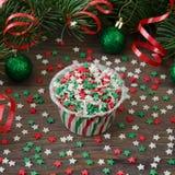 Έντυπο για το cupcake με τη διακόσμηση αστεριών Στοκ Φωτογραφίες