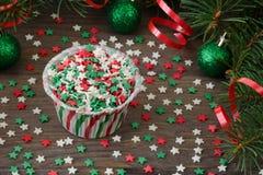 Έντυπο για το cupcake με τη διακόσμηση αστεριών Στοκ Εικόνα