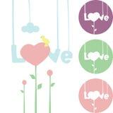 Ένωση αγάπης λέξης στις σειρές, καρδιά λουλουδιών Στοκ εικόνες με δικαίωμα ελεύθερης χρήσης