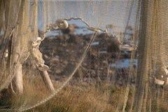 Ένωση διχτυού του ψαρέματος στο υπαίθριο υπόβαθρο ακροθαλασσιών ηλιοβασιλέματος στοκ φωτογραφίες