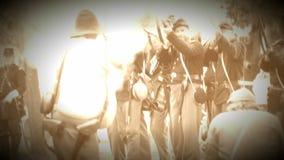 Ένωση και ομόσπονδοι στρατιώτες εμφύλιου πολέμου στο ρόπαλο (έκδοση μήκους σε πόδηα αρχείων) απόθεμα βίντεο