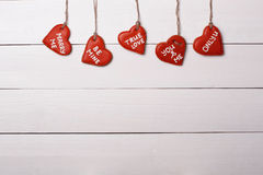 Ένωση καρδιών μπισκότων σε μια σειρά συνδεδεμένο διάνυσμα βαλεντίνων απεικόνισης s δύο καρδιών ημέρας Στοκ Εικόνα