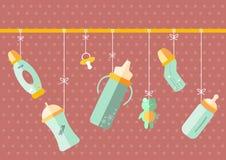 Ένωση του μπουκαλιού γάλακτος μωρών, απεικονίσεις Στοκ φωτογραφία με δικαίωμα ελεύθερης χρήσης
