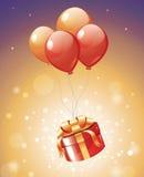 Ένωση δώρων πολυτέλειας στα κόκκινα μπαλόνια με τα μαγικά φω'τα Στοκ Φωτογραφία