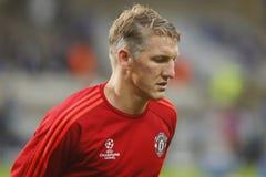 Ένωση FC Μπρυζ - Manchester United πρωτοπόρων του Bastian Schweinsteiger Στοκ εικόνες με δικαίωμα ελεύθερης χρήσης