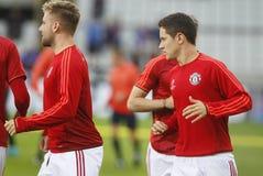 Ένωση FC Μπρυζ - Manchester United πρωτοπόρων του Luke Shaw Στοκ εικόνες με δικαίωμα ελεύθερης χρήσης