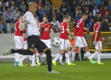 Ένωση FC Μπρυζ - Manchester United πρωτοπόρων του Wayne Rooney στόχου Στοκ Φωτογραφία