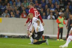 Ένωση FC Μπρυζ - Manchester United πρωτοπόρων του Wayne Rooney Στοκ φωτογραφία με δικαίωμα ελεύθερης χρήσης