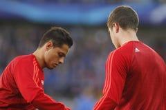 Ένωση FC Μπρυζ - Manchester United πρωτοπόρων Chicharito Στοκ Εικόνες