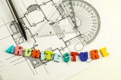 λέξη και μάνδρα αρχιτεκτονικής στα σχεδιαγράμματα και το σχέδιο ορόφων, αρχιτεκτονική Στοκ Φωτογραφία
