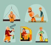 Έξι εργαζόμενοι καθορισμένοι Στοκ Φωτογραφία