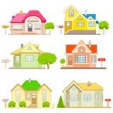 Έξι διανυσματικά σπίτια για την πώληση Στοκ Φωτογραφίες