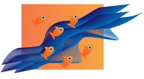 Έξι μικρά πορτοκαλιά ψάρια Στοκ Εικόνες