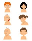 Έξι πορτρέτα παιδιών Διανυσματική απεικόνιση