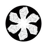 Έξι πυγμές αφαιρούν το σύμβολο, γραπτό διανυσματικό ειδικό έμβλημα Στοκ Φωτογραφία