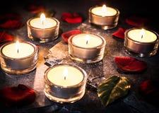 Έξι ρομαντικά φω'τα τσαγιού στην πλάκα με τα ροδαλά πέταλα και βγάζουν φύλλα Στοκ φωτογραφία με δικαίωμα ελεύθερης χρήσης