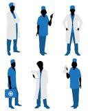 Έξι σκιαγραφίες γιατρών Διανυσματική απεικόνιση