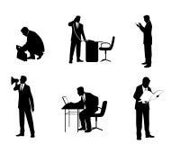 Έξι σκιαγραφίες επιχειρηματιών Διανυσματική απεικόνιση