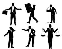 Έξι σκιαγραφίες επιχειρηματιών Στοκ εικόνα με δικαίωμα ελεύθερης χρήσης