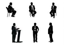 Έξι σκιαγραφίες επιχειρηματιών Στοκ φωτογραφίες με δικαίωμα ελεύθερης χρήσης
