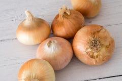 Έξι χρυσά σκωτσέζικα αυξημένα κρεμμύδια ένα από πέντε σας ημερησίως στην υγιή κατανάλωση στοκ φωτογραφία με δικαίωμα ελεύθερης χρήσης