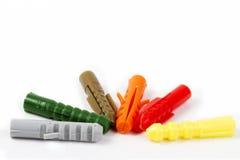 Έξι χρωματισμένα rawl βύσματα στοκ εικόνα με δικαίωμα ελεύθερης χρήσης
