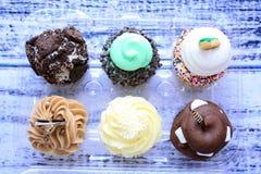 Έξι cupcakes στον τέμνοντα πίνακα στο ξύλινο υπόβαθρο Στοκ Εικόνες