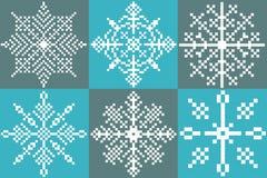 Έξι Snowflakes εικονοκυττάρου Στοκ φωτογραφίες με δικαίωμα ελεύθερης χρήσης