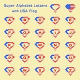 Έξοχες επιστολές αλφάβητου με την ΑΜΕΡΙΚΑΝΙΚΗ σημαία Στοκ εικόνες με δικαίωμα ελεύθερης χρήσης