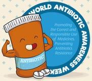 Έξοχη εβδομάδα παγκόσμιας αντιβιοτική συνειδητοποίησης εορτασμού χαρακτήρα μπουκαλιών ιατρικής, διανυσματική απεικόνιση Στοκ εικόνα με δικαίωμα ελεύθερης χρήσης