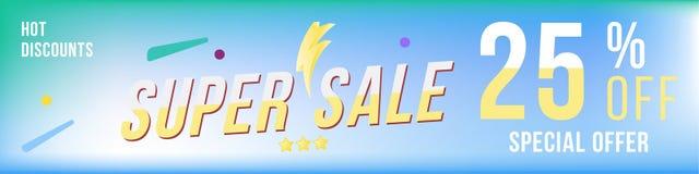 Έξοχη πώληση 25 από την έκπτωση Έμβλημα με το οριζόντιο σχήμα στο φωτεινό υπόβαθρο Μεγάλη έκπτωση, πρότυπο για τη διαφήμιση τυπωμ διανυσματική απεικόνιση